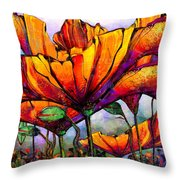 March Of The Poppies Throw Pillow