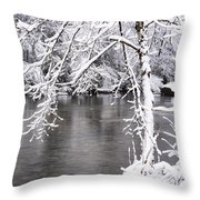 March Snow On The River Throw Pillow