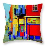 Marche Unique Cafe Sandwich Depanneur Rue St. Jacques St. Henri  Street Scenes Carole Spandau Throw Pillow