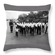 Marchers Number 1 100th Anniversary Parade Nogales Arizona 1980 Black And White  Throw Pillow