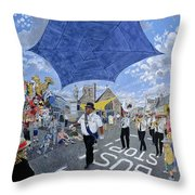Marching Band, Brecon Jazz Festival, 1994 Oil On Board Throw Pillow