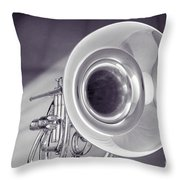 Marching French Horn Antique Classic In Sepia 3425.01 Throw Pillow