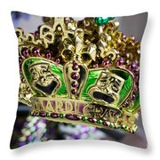 Mardi Gras Beads Throw Pillow