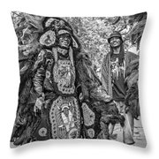 Mardi Gras Indian Monochrome Throw Pillow