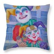 Mardi Gras Jesters Throw Pillow