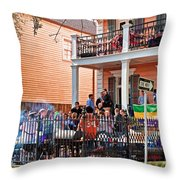 Mardi Gras Party On St Charles Ave New Orleans Throw Pillow