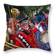 Mardi Gras Storyville Marching Group Throw Pillow