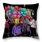 Mardi Gras Vendor's Cart Throw Pillow