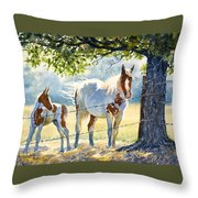 Mare And Colt Throw Pillow