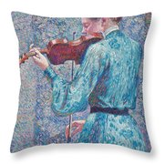 Marie Anne Weber Playing The Violin  Throw Pillow