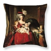 Marie Antoinette And Her Children Throw Pillow by Elisabeth Louise Vigee-Lebrun