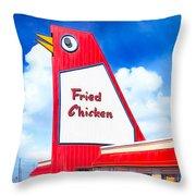 Marietta's Big Chicken Throw Pillow by Mark E Tisdale