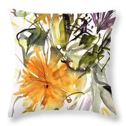 Marigold And Other Flowers Throw Pillow