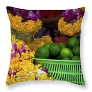 Marigolds And Limes Throw Pillow
