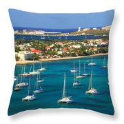 Marigot Harbor St. Martin Throw Pillow
