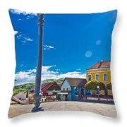Marija Bistrica Square Colorful Panorama Throw Pillow
