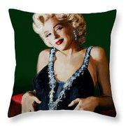 Marilyn 126 Green Throw Pillow