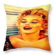 Marilyn Monroe Tribute Silked Curves Throw Pillow
