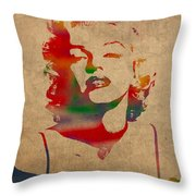 Marilyn Monroe Watercolor Portrait On Worn Distressed Canvas Throw Pillow
