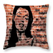 Marilyn On Brick Throw Pillow