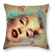 Marilyn Red Lips Digital Painting Throw Pillow