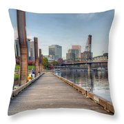Marina Along Willamette River In Portland Oregon Downtown Throw Pillow