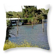 Marina At Miners Slough Throw Pillow