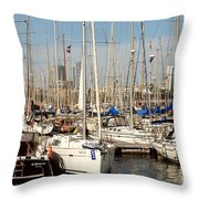 Marina At Port Vell Barcelona Throw Pillow