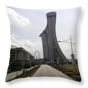Marina Bay Sands And Singapore Flyer As Seen From A Distance Throw Pillow