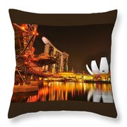 Singapore Cityscape At Marina Bay Sands Throw Pillow