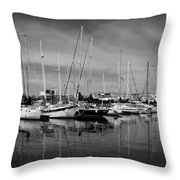 Marina Boats In Victoria British Columbia Black And White Throw Pillow