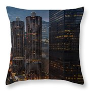 Marina City And A M A Plaza Chicago Throw Pillow
