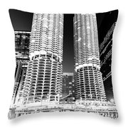 Marina City Towers At Night Black And White Picture Throw Pillow
