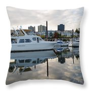 Marina On Willamette River In Portland Oregon Downtown Throw Pillow