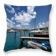 Marina St Thomas Virgin Islands Throw Pillow by Amy Cicconi