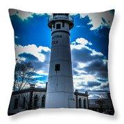 Marine City Michigan Lighthouse Throw Pillow