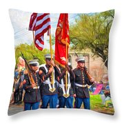 Marine Color Guard - Paint Throw Pillow