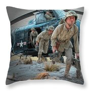 Marine Helicopter Landing Throw Pillow