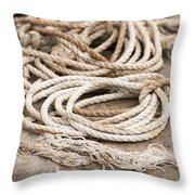 Marine Ropes Beige And Brown Colors Throw Pillow by Matthias Hauser