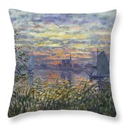 Marine View With A Sunset Throw Pillow