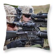 Marines And Sailors Wait For A Ch-53e Throw Pillow