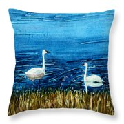 Marion Lake Swans Throw Pillow