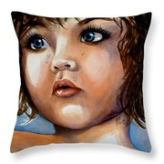 Crying Blue Eyes Throw Pillow