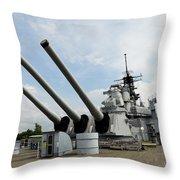 Mark 7 16-inch Gun Barrels On Deck Throw Pillow