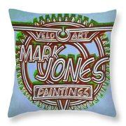 Mark Jones Velo Art Painting Blue Throw Pillow by Mark Howard Jones