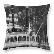 Mark Twain Riverboat Frontierland Disneyland Vertical Bw Throw Pillow