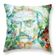 Mark Twain - Watercolor Portrait Throw Pillow by Fabrizio Cassetta