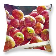 Market Apples Throw Pillow