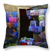 Market At Santiago Atitlan Guatemala Throw Pillow