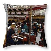 Market Busker 10 Throw Pillow